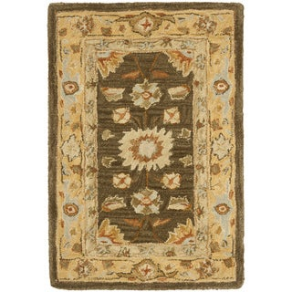 Safavieh Hand-made Farahan Brown/ Taupe Hand-spun Wool Rug (2' x 3')