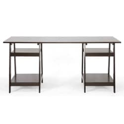 Mott Dark Brown Wood Modern Desk with Sawhorse Legs (Large)