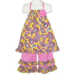 Ann Loren Girl's Pink Paisley Halter Top and Capri Set