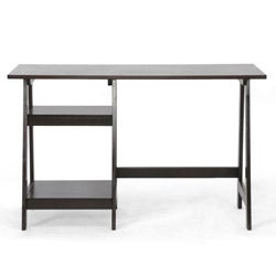 Mott Dark Brown Wood Modern Desk with Sawhorse Legs (Small)