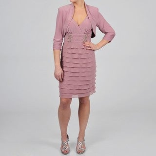 S.L. Fashions Women's Rose Tiered Jacket Dress
