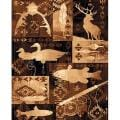 Fish & Deer Brown Area Rug (5'x7')