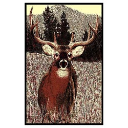 African Advanture Deer Berber Area Rug (5'x7')