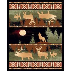 Black Wolf & Deer Rug (5' x 7')