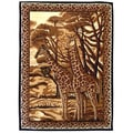 African Adventure Giraffe Black Area Rug (5'x7')