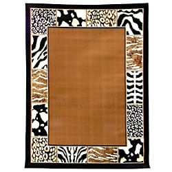 African Adventure Border Skin Caramel Area Rug (5' x 7')
