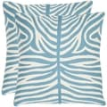 Safavieh Tiger Stripes 18-inch Embroidered Blue Decorative Pillows (Set of 2)