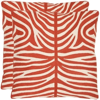 Safavieh Tiger Stripes 22-inch Embroidered Orange Decorative Pillows (Set of 2)