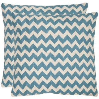 Zig-Zag 22-inch Embroidered Blue Decorative Pillows (Set of 2)