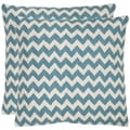 Zig-Zag 18-inch Embroidered Blue Decorative Pillows (Set of 2)