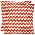 Zig-Zag 18-inch Embroidered Orange Decorative Pillows (Set of 2)