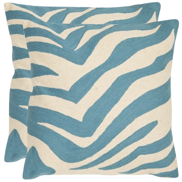 Safavieh Stripes 22-inch Embroidered Blue Decorative Pillows (Set of 2)