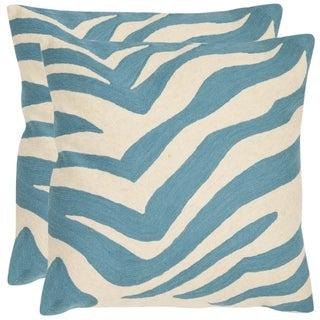 Safavieh Stripes 18-inch Embroidered Blue Decorative Pillows (Set of 2)