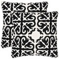 Morrocan 22-inch Embroidered Black Decorative Pillows (Set of 2)