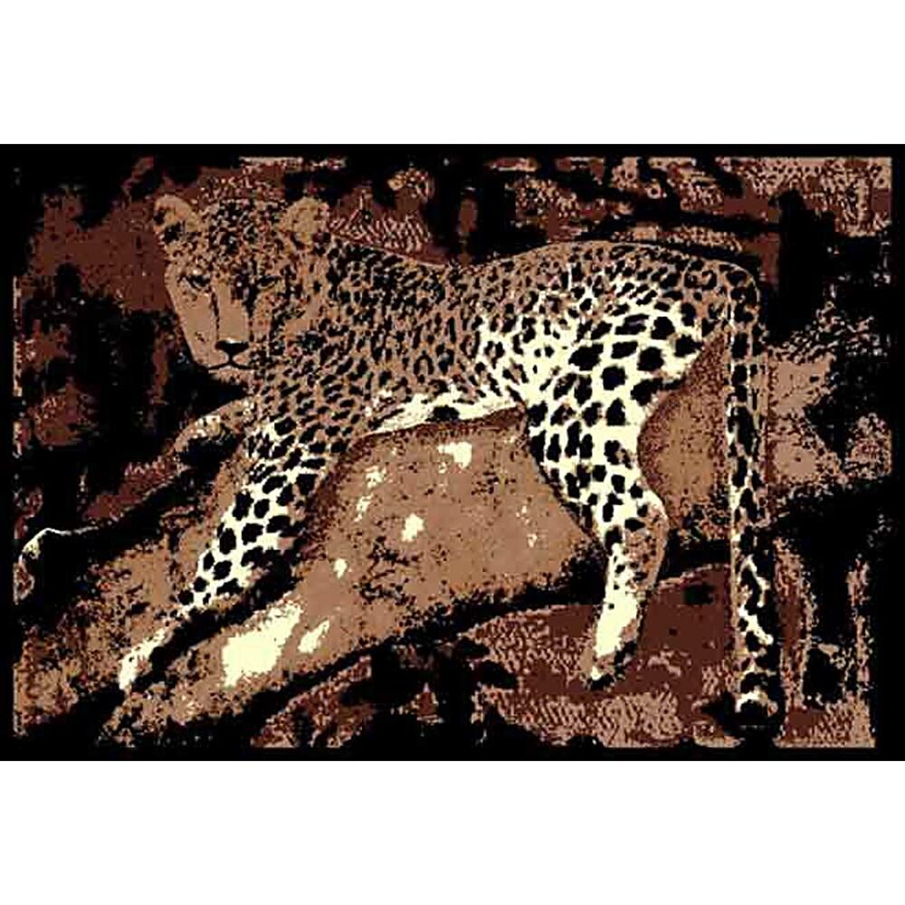 African Adventure Leopard on Tree 3 Brown Area Rug (5' x 7')