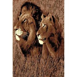 DonniAnn African Adventure Lion & Lioness Black Area Rug (5'x7')