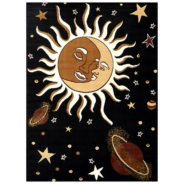 African Advanture Black Sun/ Moon Rug (5'x7')