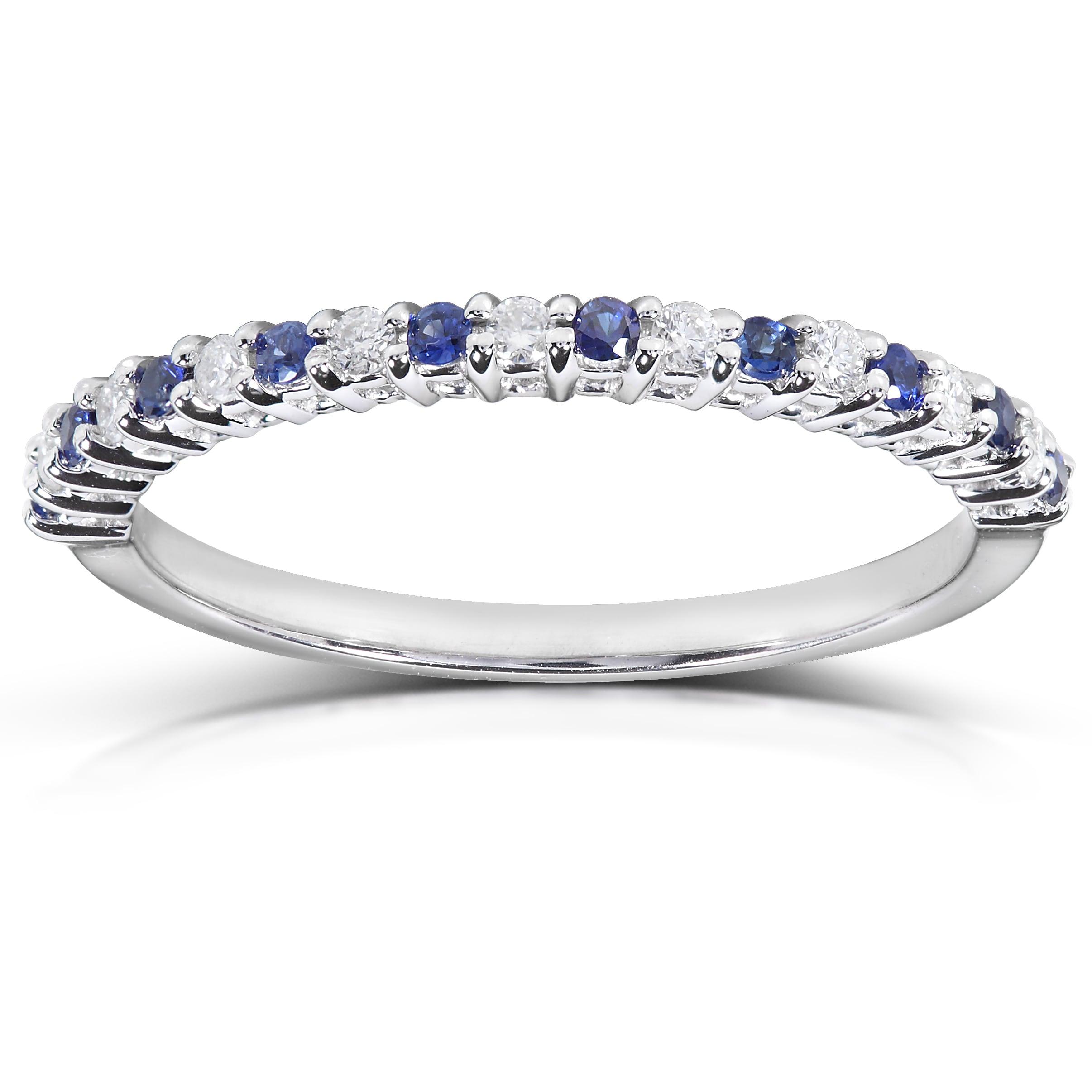 Annello 14k White Gold 1/10ct TDW Blue Sapphire and Diamond Band (H-I, I1-I2)