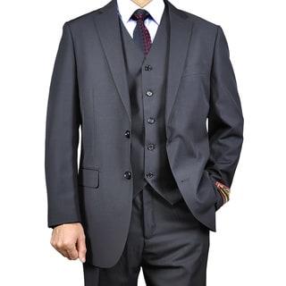 Men's Black Vested Suit