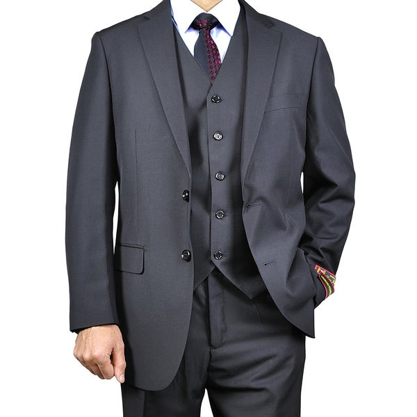 Men's Black Vested Suit