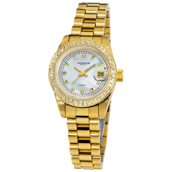 Akribos XXIV Women's Diamond Quartz Gold-Tone Bracelet Watch