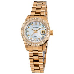 Akribos XXIV Women's Diamond Quartz Rose-Tone Bracelet Watch