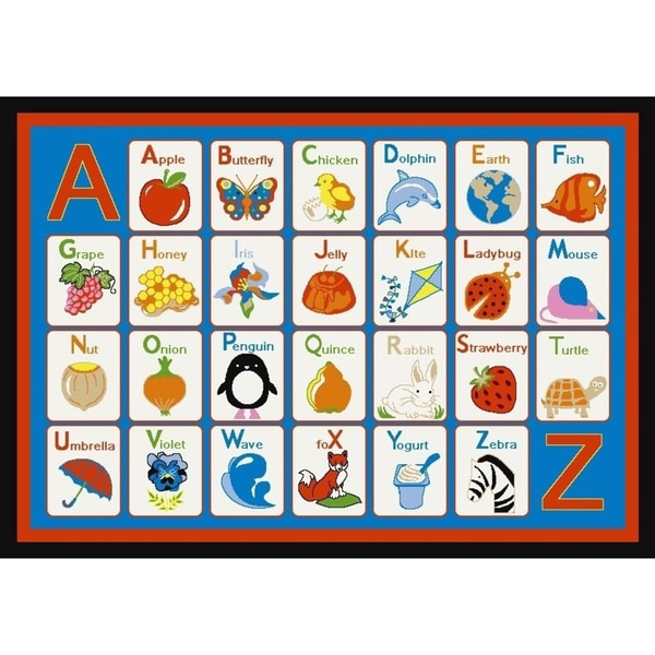ABC to Z Blue Kid's Rug (4'5 x 6'1)