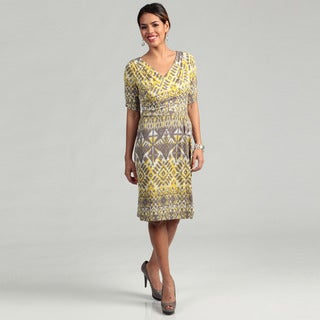Tahari Women's Yellow/ Grey Abstract Drape Dress