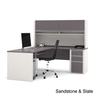 Bestar Connexion Brown Laminate L-shaped Workstation with Hutch
