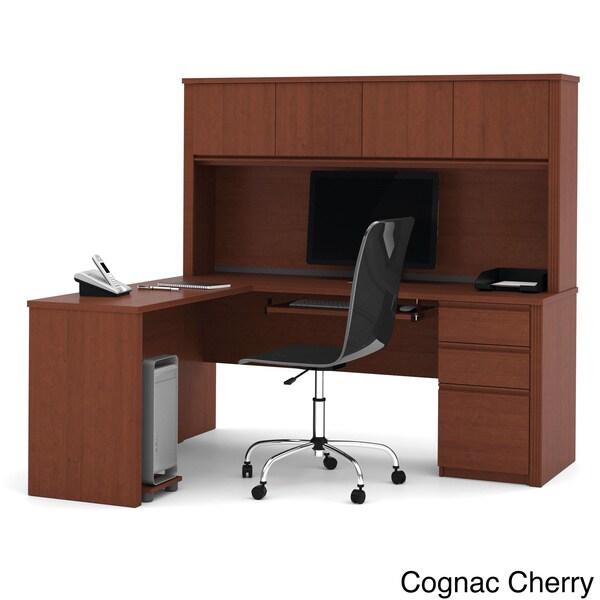 Bestar Prestige Plus L-shaped Workstation with Hutch