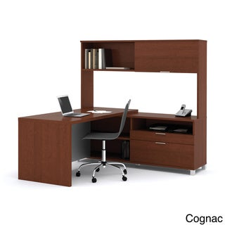 Bestar Pro-Linea L-shaped Desk with Hutch