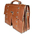 Zeyner Cognac Italian-vachetta-leather 15.4-inch Laptop Briefcase