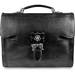 Zeyner Vachetta Black Italian Leather Flap-Over Laptop Briefcase