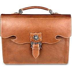 Zeyner Italian Vachetta Leather Flap-Over 15.4-inch Laptop Briefcase