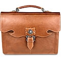 Zeyner Italian Vachetta Leather Flap-Over Laptop Briefcase