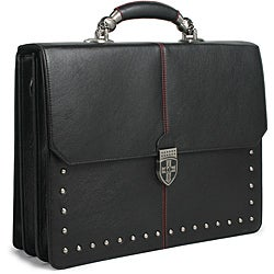 Zeyner Hellraiser Leather Flapover 17-inch Laptop Briefcase