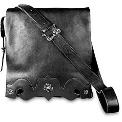 Zeyner Black Italian Vachetta Leather Messenger Bag