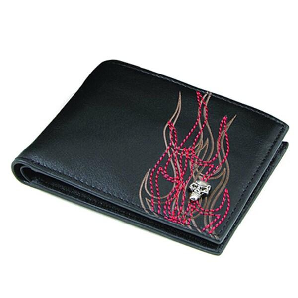 Zeyner Men's 'Pyro Maniac' Leather Bi-Fold Wallet