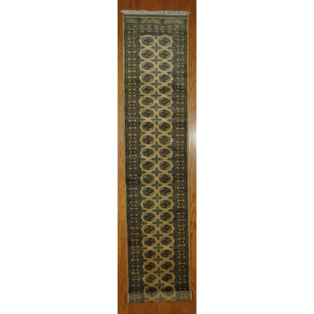 Pakistani Hand-knotted Beige/ Black Bokhara Wool Runner (2'7 x 16'7)
