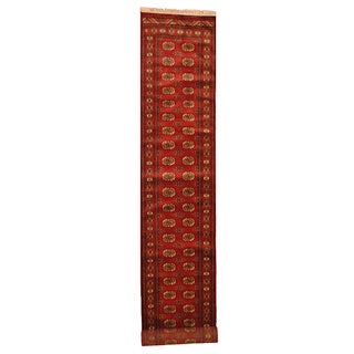 Pakistani Hand-knotted Red/ Ivory Bokhara Wool Runner (2'7 x 17'10)
