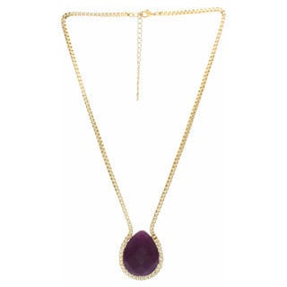 Nexte Jewelry Goldtone Faceted Teardrop Amethyst Necklace