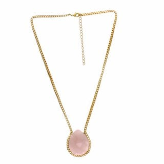 Nexte Jewelry Goldtone Faceted Teardrop Rose Quartz Necklace