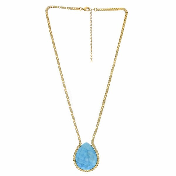 Nexte Jewelry Goldtone Faceted Teardrop Turquoise Necklace