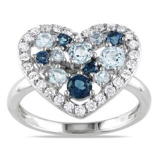 Miadora Sterling Silver Multi-colored Topaz Heart Ring (2ct TGW)