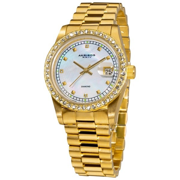 Akribos XXIV Women's Diamond Accent Gold Tone Bracelet Watch
