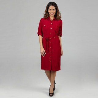 Tahari ASL Women's Matte Jersey Shirt Dress