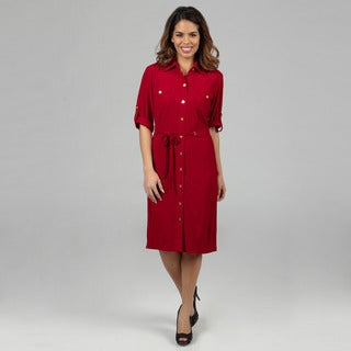 Tahari ASL Women's Matte Jersey Shirt Dress