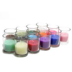 Round glass Votive Candles (Set of 12)