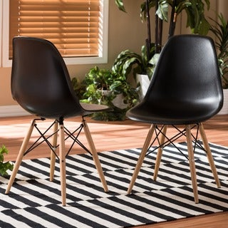 Azzo Black Plastic Mid-Century Modern Shell Chairs (Set of 2)