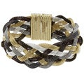 La Preciosa Six-color Braided Mesh Magnet Lock Wide Bracelet